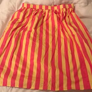 Magenta & Yellow Striped Skirt